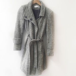 Tahari Wool Blend Snap Up Belted Coat, gray, Small